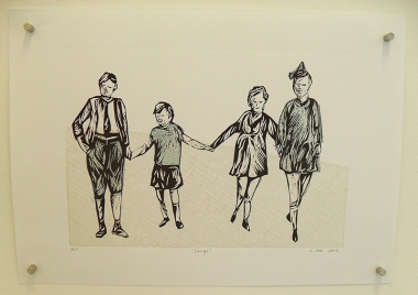 Siblings, Relief print and collagraph, A3, 2013